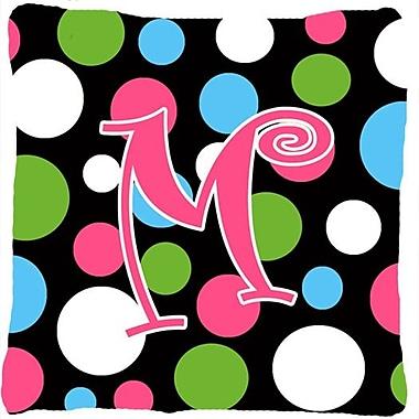 Caroline's Treasures Monogram Initial Polkadots Indoor/Outdoor Throw Pillow; M