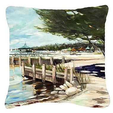 Caroline's Treasures At The Pier Sailboats Indoor/Outdoor Throw Pillow; 18'' H x 18'' W x 5.5'' D