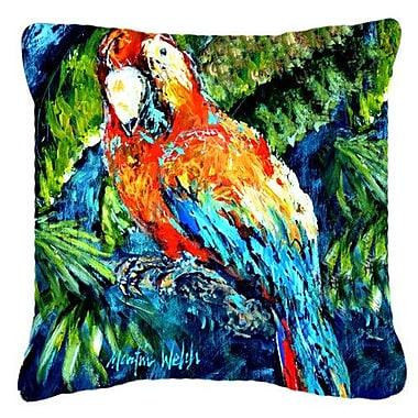 Caroline's Treasures Yo Yo Mama Parrot Indoor/Outdoor Throw Pillow; 14'' H x 14'' W x 4'' D