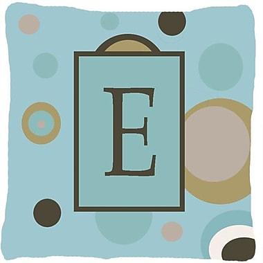 Caroline's Treasures Monogram Initial Blue Dots Indoor/Outdoor Throw Pillow; E