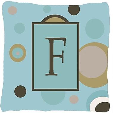 Caroline's Treasures Monogram Initial Blue Dots Indoor/Outdoor Throw Pillow; F