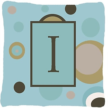 Caroline's Treasures Monogram Initial Blue Dots Indoor/Outdoor Throw Pillow; I
