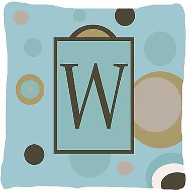 Caroline's Treasures Monogram Initial Blue Dots Indoor/Outdoor Throw Pillow; W