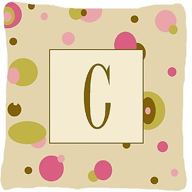 Caroline's Treasures Monogram Initial Tan Dots Indoor/Outdoor Throw Pillow; C