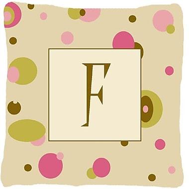 Caroline's Treasures Monogram Initial Tan Dots Indoor/Outdoor Throw Pillow; F