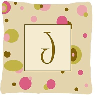 Caroline's Treasures Monogram Initial Tan Dots Indoor/Outdoor Throw Pillow; J