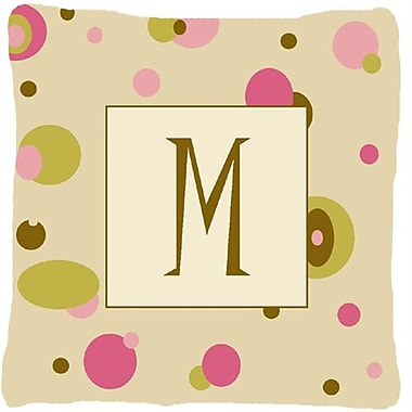 Caroline's Treasures Monogram Initial Tan Dots Indoor/Outdoor Throw Pillow; M