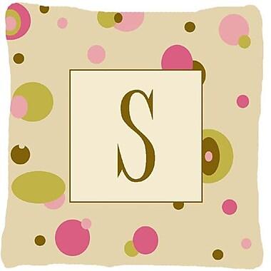 Caroline's Treasures Monogram Initial Tan Dots Indoor/Outdoor Throw Pillow; S