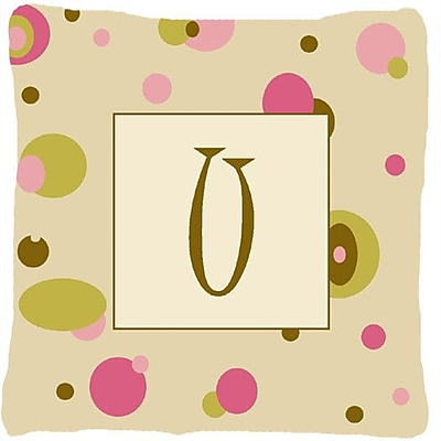 Caroline's Treasures Monogram Initial Tan Dots Indoor/Outdoor Throw Pillow; U