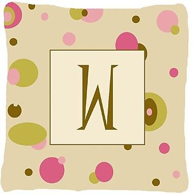 Caroline's Treasures Monogram Initial Tan Dots Indoor/Outdoor Throw Pillow; W