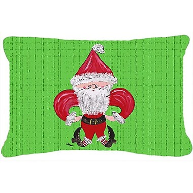 Caroline's Treasures Christmas Fleur De Lis Santa Claus Indoor/Outdoor Throw Pillow