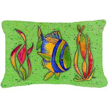 Caroline's Treasures Tropical Fish Indoor/Outdoor Throw Pillow; Green