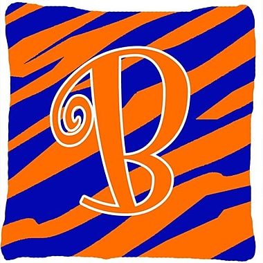 Caroline's Treasures Monogram Initial Tiger Stripe Indoor/Outdoor Throw Pillow; B
