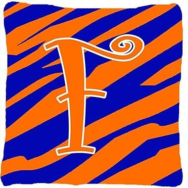 Caroline's Treasures Monogram Initial Tiger Stripe Indoor/Outdoor Throw Pillow; F