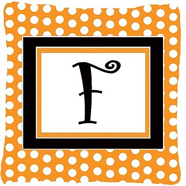 Caroline's Treasures Monogram Initial Orange Polkadots Indoor/Outdoor Throw Pillow; F