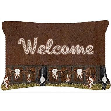 Caroline's Treasures Welcome Mat w/ Cows Indoor/Outdoor Throw Pillow
