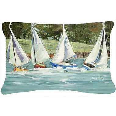Caroline's Treasures Sailboats on The Bay Indoor/Outdoor Throw Pillow