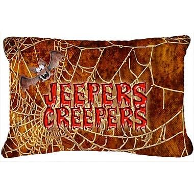 Caroline's Treasures Jeepers Creepers w/ Bat and Spider Web Halloween Indoor/Outdoor Throw Pillow
