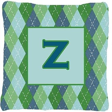 Caroline's Treasures Monogram Initial Blue Argyle Indoor/Outdoor Throw Pillow; Z