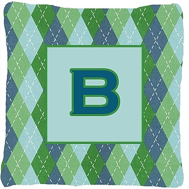 Caroline's Treasures Monogram Initial Blue Argyle Indoor/Outdoor Throw Pillow; B