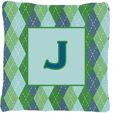 Caroline's Treasures Monogram Initial Blue Argyle Indoor/Outdoor Throw Pillow; J