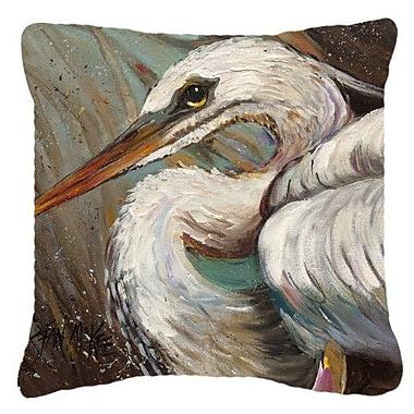 Caroline's Treasures White Egret Indoor/Outdoor Throw Pillow; 14'' H x 14'' W x 4'' D