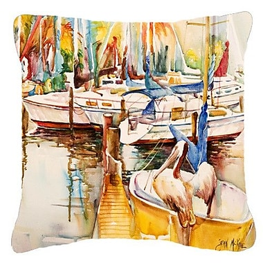 Caroline's Treasures Pelicans and Sailboats Indoor/Outdoor Throw Pillow; 18'' H x 18'' W x 5.5'' D
