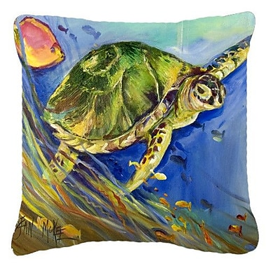 Caroline's Treasures Loggerhead Sea Turtle Indoor/Outdoor Throw Pillow; 14'' H x 14'' W x 4'' D