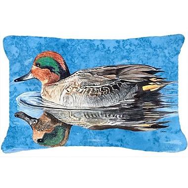 Caroline's Treasures Teal Duck Indoor/Outdoor Throw Pillow