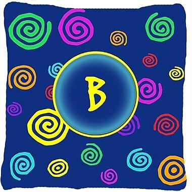 Caroline's Treasures Monogram Initial Blue Swirls Indoor/Outdoor Throw Pillow; B