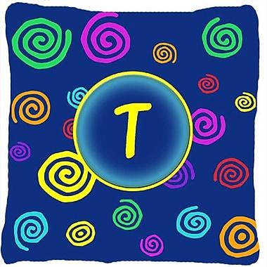 Caroline's Treasures Monogram Initial Blue Swirls Indoor/Outdoor Throw Pillow; T