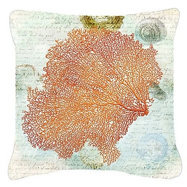 Caroline's Treasures Coral Pink Indoor/Outdoor Throw Pillow; 18'' H x 18'' W x 5.5'' D