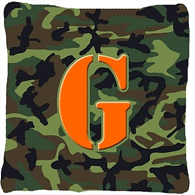 Caroline's Treasures Monogram Initial Camo Indoor/Outdoor Throw Pillow; G