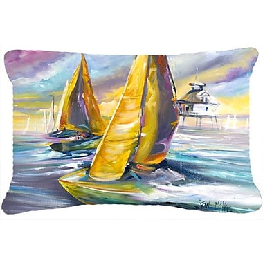 Caroline's Treasures Sailboat w/ Middle Bay Lighthouse Indoor/Outdoor Throw Pillow