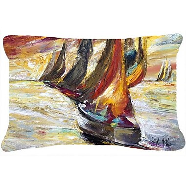 Caroline's Treasures Red Sails Sailboat Indoor/Outdoor Throw Pillow