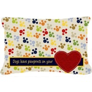 Caroline's Treasures Dogs Leave Pawprints on Your Heart Indoor/Outdoor Throw Pillow