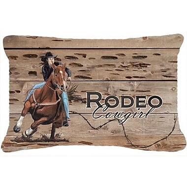 Caroline's Treasures Rodeo Cowgirl Barrel Racer Indoor/Outdoor Throw Pillow