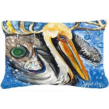 Caroline's Treasures Pelican Dressed As A Reindeer Indoor/Outdoor Throw Pillow