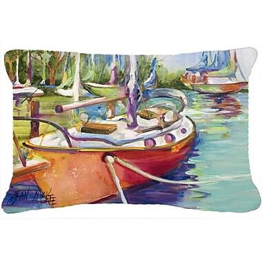 Caroline's Treasures Red Sailboat Indoor/Outdoor Throw Pillow