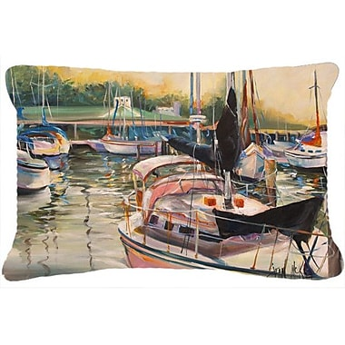 Caroline's Treasures Black Sails Sailboat Indoor/Outdoor Throw Pillow