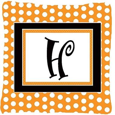 Caroline's Treasures Monogram Initial Orange Polkadots Indoor/Outdoor Throw Pillow; H