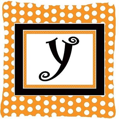 Caroline's Treasures Monogram Initial Orange Polkadots Indoor/Outdoor Throw Pillow; Y