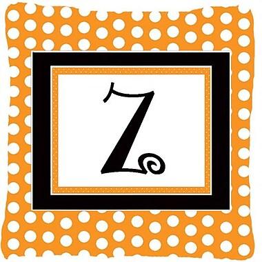 Caroline's Treasures Monogram Initial Orange Polkadots Indoor/Outdoor Throw Pillow; Z