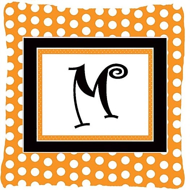 Caroline's Treasures Monogram Initial Orange Polkadots Indoor/Outdoor Throw Pillow; M