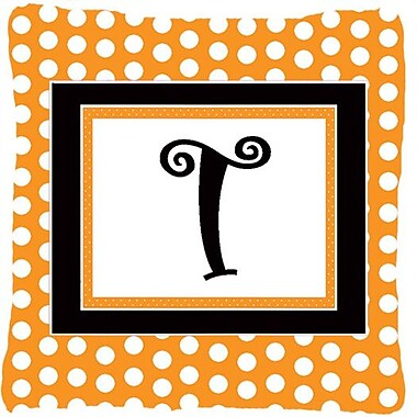 Caroline's Treasures Monogram Initial Orange Polkadots Indoor/Outdoor Throw Pillow; T