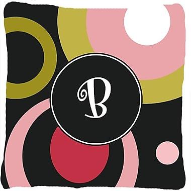 Caroline's Treasures Monogram Retro in Black Indoor/Outdoor Throw Pillow; B