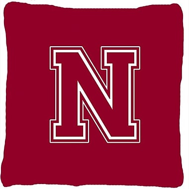 Caroline's Treasures Monogram Initial Maroon and White Indoor/Outdoor Throw Pillow; N