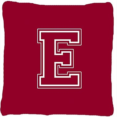 Caroline's Treasures Monogram Initial Maroon and White Indoor/Outdoor Throw Pillow; E