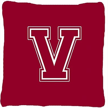 Caroline's Treasures Monogram Initial Maroon and White Indoor/Outdoor Throw Pillow; V