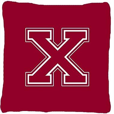 Caroline's Treasures Monogram Initial Maroon and White Indoor/Outdoor Throw Pillow; X